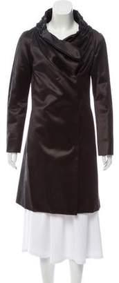 Rue Du Mail Satin Cowl-Neck Coat