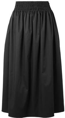 Betsy Stretch-cotton Poplin Midi Skirt - Black