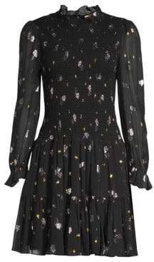 Rebecca Taylor Metallic Tulip Print Smocked Flare Dress