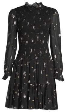 Rebecca Taylor Metallic Tulip Print Smocked Flare Dress