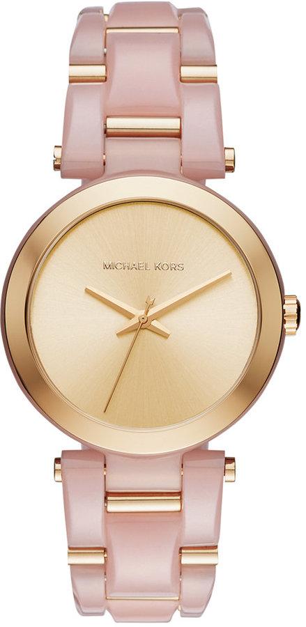 MICHAEL Michael KorsMichael Kors Women's Delray Gold-Tone Stainless Steel and Blush Acetate Bracelet Watch 36mm MK4316