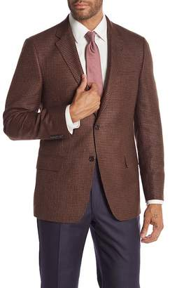 Hickey Freeman Brown Houndstooth Two Button Notch Lapel Classic Fit Blazer