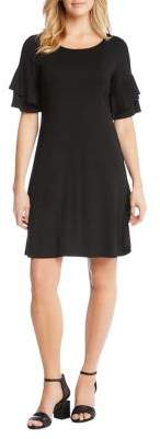 Karen Kane Ruffle-Sleeve Fit-&-Flare Dress