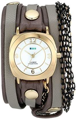 La Mer Women's 'Chain Wrap Collection' Quartz Gold-Tone and Leather Casual Watch