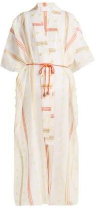 Binetti Love Striped Fil Coupe Kaftan - Womens - Orange White
