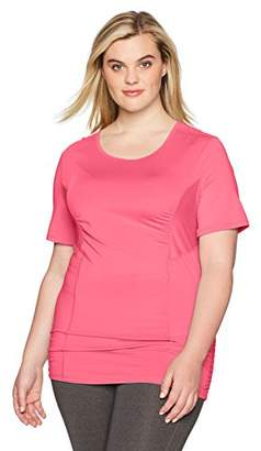 Fruit of the Loom Fit for Me by Women's Plus Size Breathable Shirred Performance Mesh T-Shirt