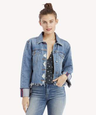 Sole Society Classic Cuff Bell Sleeve Fray Hem Jean Jacket