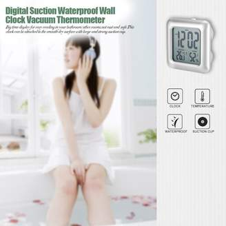 HURRISE Bathroom Digit Wall Clock Waterproof Wall Suction Clock Vacuum Thermometer Hygrometer,Wall Clock,Waterproof Wall Clock