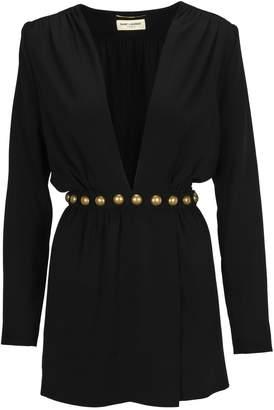 Saint Laurent Paris Dress V Neck Studs