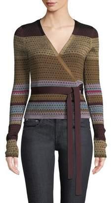 Diane von Furstenberg Metallic Striped Wrap Sweater