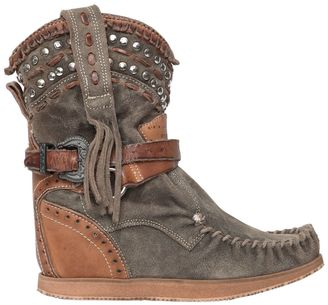 70mm Fringed & Studded Suede Boots $466 thestylecure.com