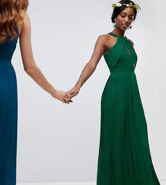TFNC Tall pleated bridesmaids maxi dress in forest green