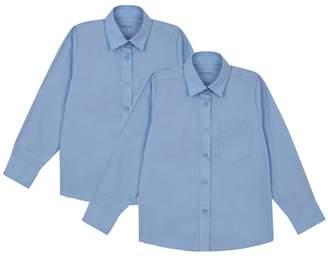 Debenhams Set Of 2 Girls' Blue Long Sleeve Regular Fit School Blouses