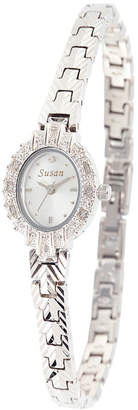 JCPenney FINE JEWELRY Personalized Dial Womens Diamond-Accent Oval Silver-Tone Bracelet Watch