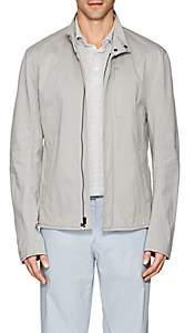 James Perse MEN'S COTTON-BLEND JERSEY BIKER JACKET-LIGHT GRAY SIZE 1