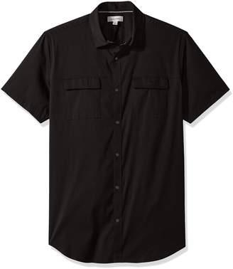 Calvin Klein Men's Short Sleeve Stretch Poplin Military Shirt