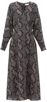 Raey Batwing Geo Snake Print Silk Dress - Womens - Navy Print