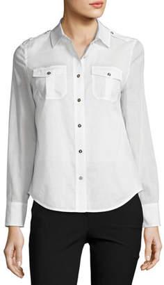 Tory Burch Brigitte Long-Sleeve Button-Front Poplin Blouse, White