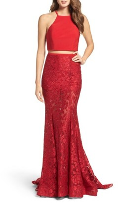Women's La Femme Jersey & Lace Two-Piece Gown $478 thestylecure.com