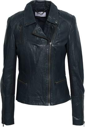 Muu Baa Muubaa Ribbed Knit-paneled Leather Biker Jacket
