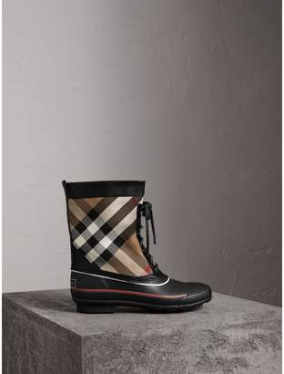 Burberry Lace-up House Check and Rubber Rain Boots