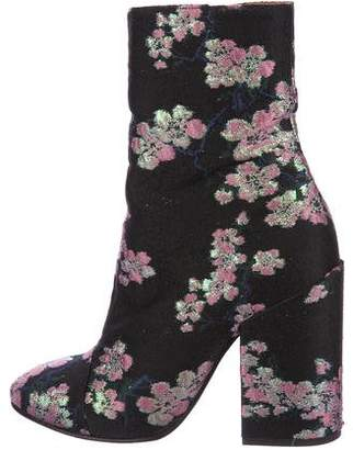 Dries Van Noten Floral Jacquard Ankle Boots