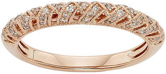 JCPenney MODERN BRIDE 1/4 CT. T.W. Certified Diamond 14K Rose Gold Crossover Wedding Band