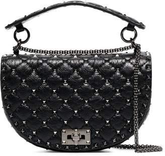 Valentino black Rockstud spike chain leather shoulder bag