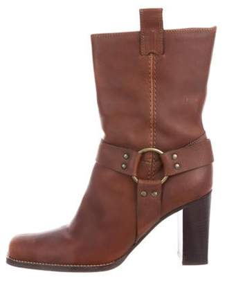 Michael Kors Leather Square-Toe Ankle Boots Brown Leather Square-Toe Ankle Boots