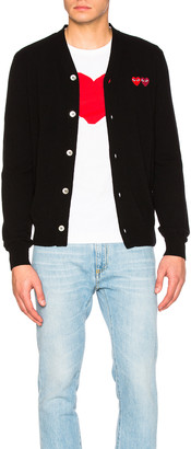 Comme des Garcons Double Emblem Cardigan in Black | FWRD