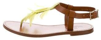 Valentino Feather-Trimmed Leather Sandals