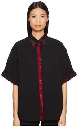 Versace Camicia Donna Tessuto Short Sleeve Shirt w/ Contrast Trim