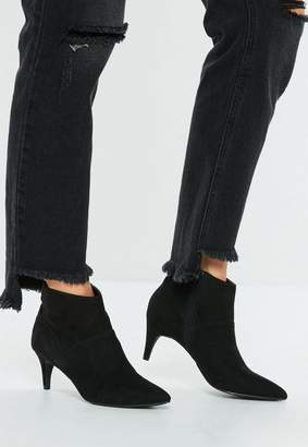 Missguided Black Faux Suede Kitten Heel Boot