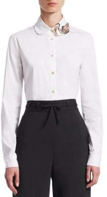 RED Valentino Embellished Stretch Poplin Button-Down Shirt
