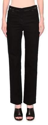 Valentino Rockstud Straight-Leg Jeans, Black