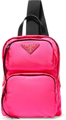 Prada Leather-trimmed Neon Shell Backpack - Pink