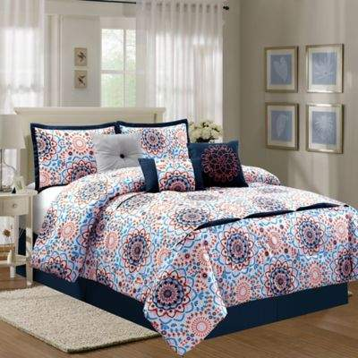 Elight Home Sunshine Luxury 7-Piece King Comforter Set in Navy