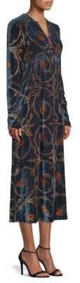 Etro Velvet Floral Midi Dress