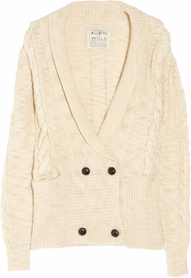 Aubin and Wills Sheepmoor cable-knit wool cardigan