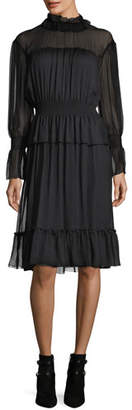 See by Chloe Long-Sleeve Smocked Silk Dress