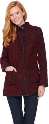 Susan Graver Boucle Zip Front Jacket w/ Faux Leather Trim
