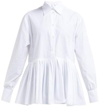 Valentino Pleated Hem Cotton Blend Poplin Shirt - Womens - White
