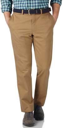 Charles Tyrwhitt Tan Slim Fit Flat Front Washed Cotton Chino Pants Size W30 L30