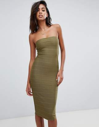 Missguided bandage bandeau midi dress in khaki