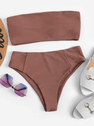 SheinShein Bandeau With High Cut Bikini Set