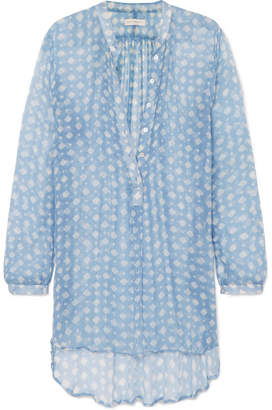 Cloe Cassandro - Andrea Printed Silk-crepon Tunic - Light blue