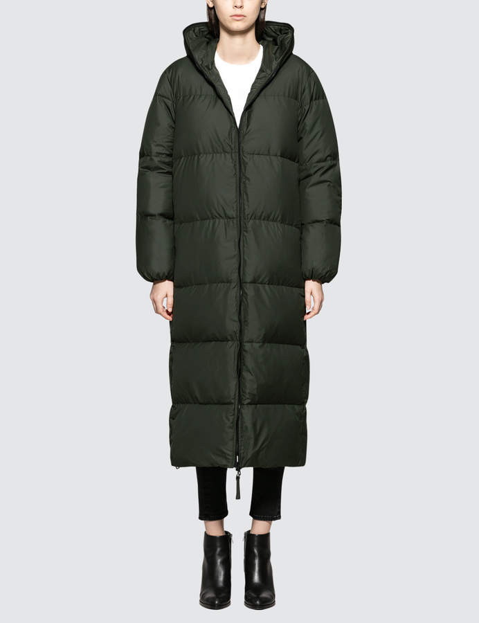 Duvetica X Full Length Oversized Puffa Coat With Love Slogan