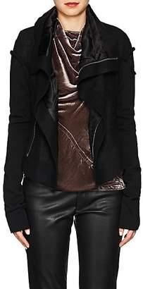 Rick Owens Women's Classic Linen-Camel Hair Biker Jacket - Black