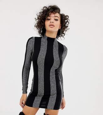 Asos Design DESIGN x LaQuan Smith bodycon dress in glitter stripe