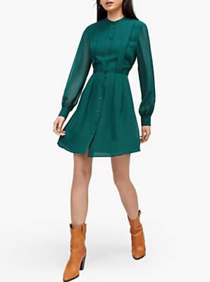 Warehouse Pleat Shirt Dress, Dark Green